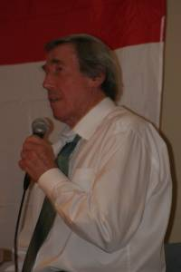 Gordon Banks with microphone portrait 2